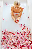 Woman Body Care. Spa Rose Flower Bath Treatment, Aromatherapy Royalty Free Stock Photo