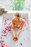 Woman Body Care. Spa Rose Flower Bath Treatment, Aromatherapy. Stock Images