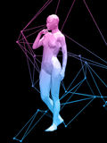 Woman body. Colorful 3D abstract woman body on black background Royalty Free Stock Photo