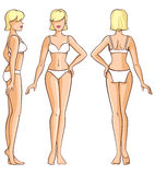 Woman body - front, back and side view Royalty Free Stock Image