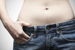 Woman body in jeans Royalty Free Stock Photos