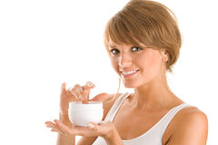 Woman with body lotion Royalty Free Stock Photos