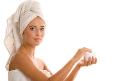 Woman with body lotion Royalty Free Stock Photo