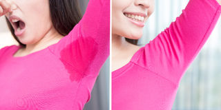 Woman with body odor. Asia beauty woman with body odor problem before and after Royalty Free Stock Photography