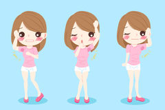 Woman with body odor. Cute cartoon woman with body odor problem on blue background Stock Photos