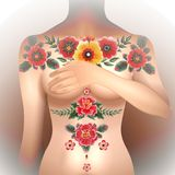 Woman body with oldschool tattoo Royalty Free Stock Image