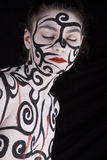 Woman with body painted stock photo