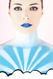 Woman with body painted to look like the sky Royalty Free Stock Photo