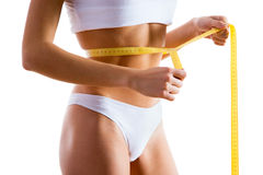 Woman body in panties with measure Royalty Free Stock Image