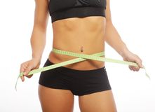Woman body part is being measured Royalty Free Stock Image