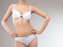 Woman Body. Perfect female in Underwear Stock Photo