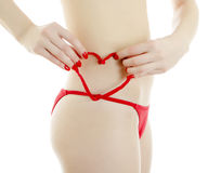 Woman body in red panties. Royalty Free Stock Image