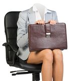 Woman body sitting in chair Royalty Free Stock Image