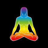 Woman Body Soul Rainbow Black. Sitting naked woman with a rainbow gradient colored body or soul. Isolated vector illustration on black background Royalty Free Stock Photo