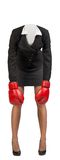 Woman body standing in boxing gloves Stock Photos