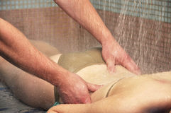 Woman body under shower massage Stock Photo