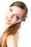 Woman with bodyart butterfly on face  isolated Royalty Free Stock Images