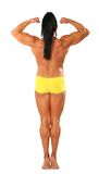 Woman bodybuider topless from back stock photography