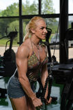 Woman Bodybuilder Exercising Triceps Royalty Free Stock Images