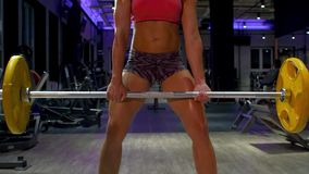 Woman bodybuilder lifting barbell. Athlete in the gym. Fitness, sport, and training concept stock footage