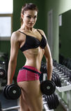 Woman bodybuilder training with dumbbell. Stock Photo