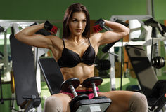 Woman bodybuilder training with dumbbell. Royalty Free Stock Images