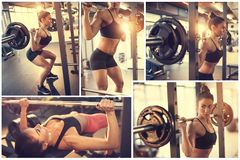 Woman Bodybuilding. Collage at gym royalty free stock photos