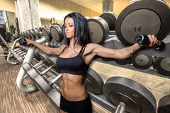 Bodybuilding in gym Royalty Free Stock Photo
