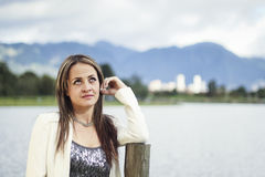 Woman in Bogota looking up Royalty Free Stock Image