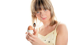Woman with boiled egg Royalty Free Stock Photography