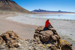 Woman on the bolivian flats. Admiring the view Stock Images