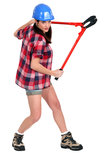 Woman with bolt cutters. Young woman with bolt cutters Stock Photos