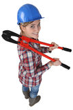Woman with boltcutters Royalty Free Stock Photos