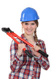 Woman with boltcutters Stock Images