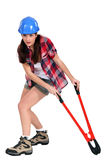 Woman with boltcutters Royalty Free Stock Photo