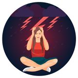 Woman and bolts representing depression on vector illustration. Woman and bolts representing depression, female sitting with her head in hands, unhappy feeling royalty free illustration
