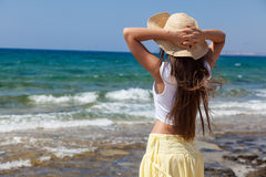 Woman is looking at the sea royalty free stock image