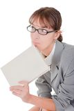 Woman and book. Business woman  in spectacles and book on white Royalty Free Stock Photo