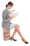 Woman and book. Business woman  in spectacles and book on white Royalty Free Stock Images