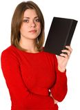 Woman with book. Isolated woman with black book Royalty Free Stock Photo