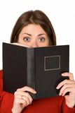 Woman with book. Woman with black book isolated on white Stock Photo