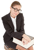 Woman and book. Business woman  in spectacles and book on white Stock Images