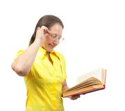 Woman with book Stock Images