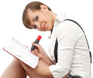 Woman with book. Beautiful brunette woman with book Royalty Free Stock Photos