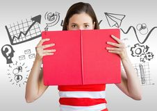 Woman with book and business statistics graphic drawings Royalty Free Stock Photos
