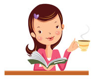 Woman with a book and coffee. Woman reading and drinking coffee. vector cartoon illustration Royalty Free Stock Photo