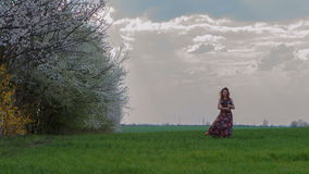 Woman with a book in hand standing in a green. Field over dinner and cloudy sky. 4K RAW video record stock video