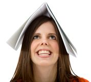 Woman with a book on her head Stock Photo