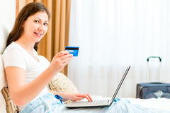 Woman Book online the Holiday Tour Royalty Free Stock Photography