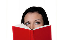 Woman with book reading stock photo